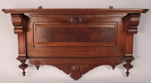 Lot 441: Aesthetic Movement Carved Walnut Wall Shelf
