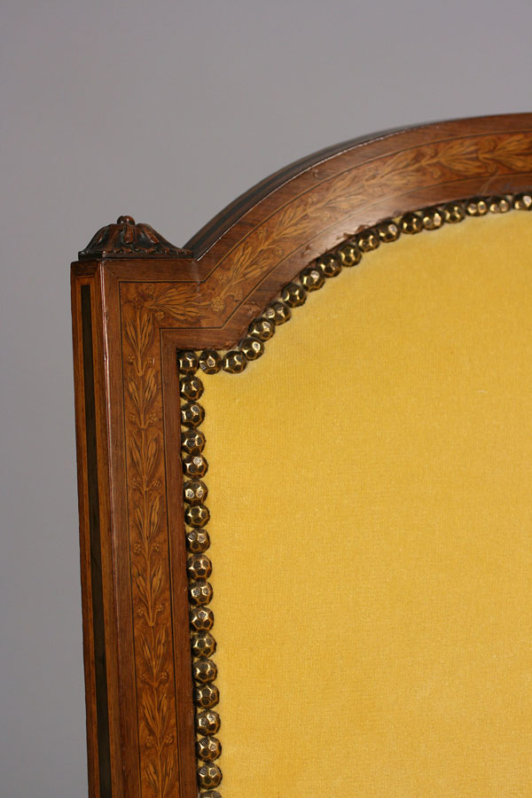 Lot 444: Louis XVI style marquetry armchair, 19th c.