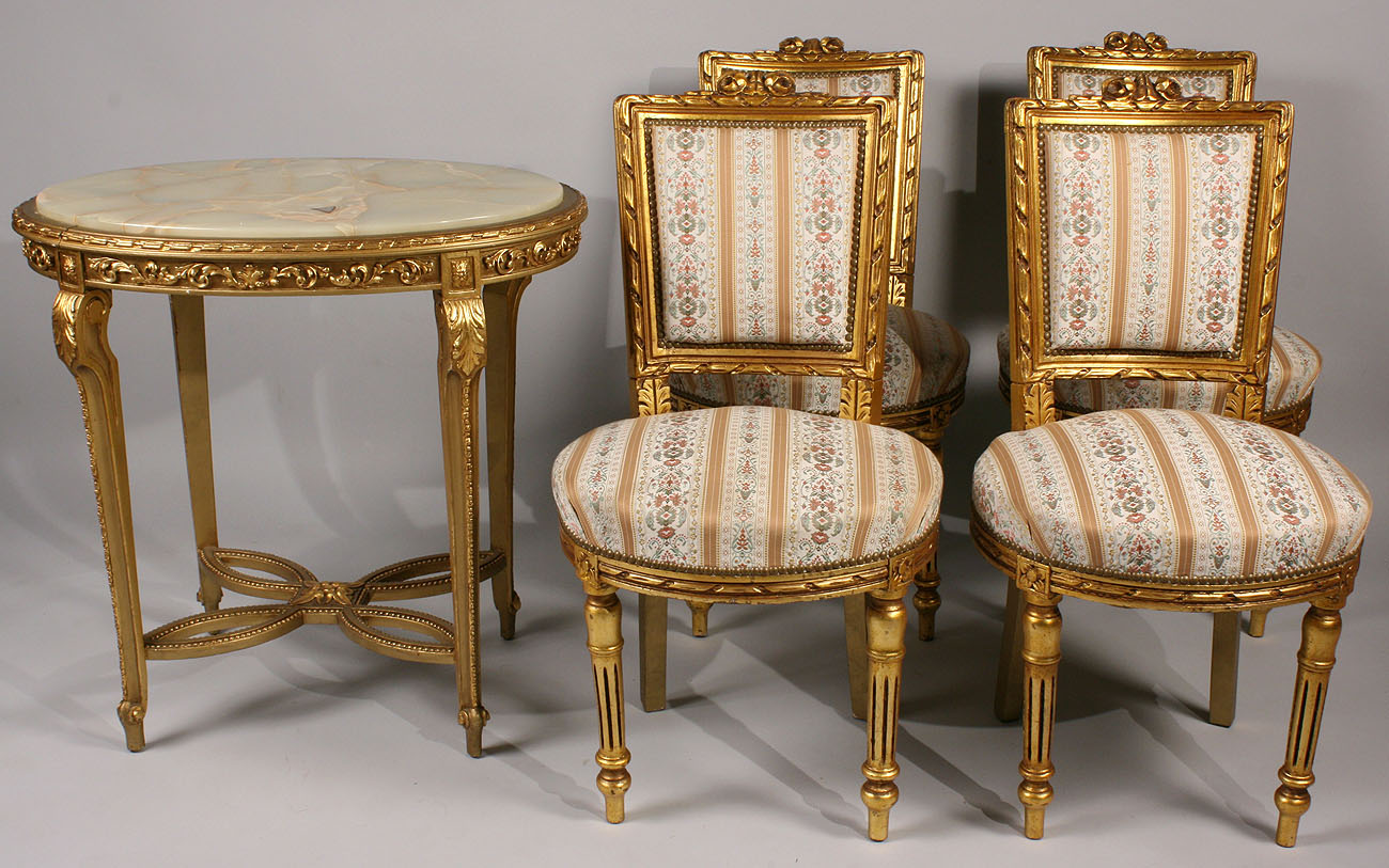 - Lot 445: Louis XVI Style Giltwood Chairs (4) & Table