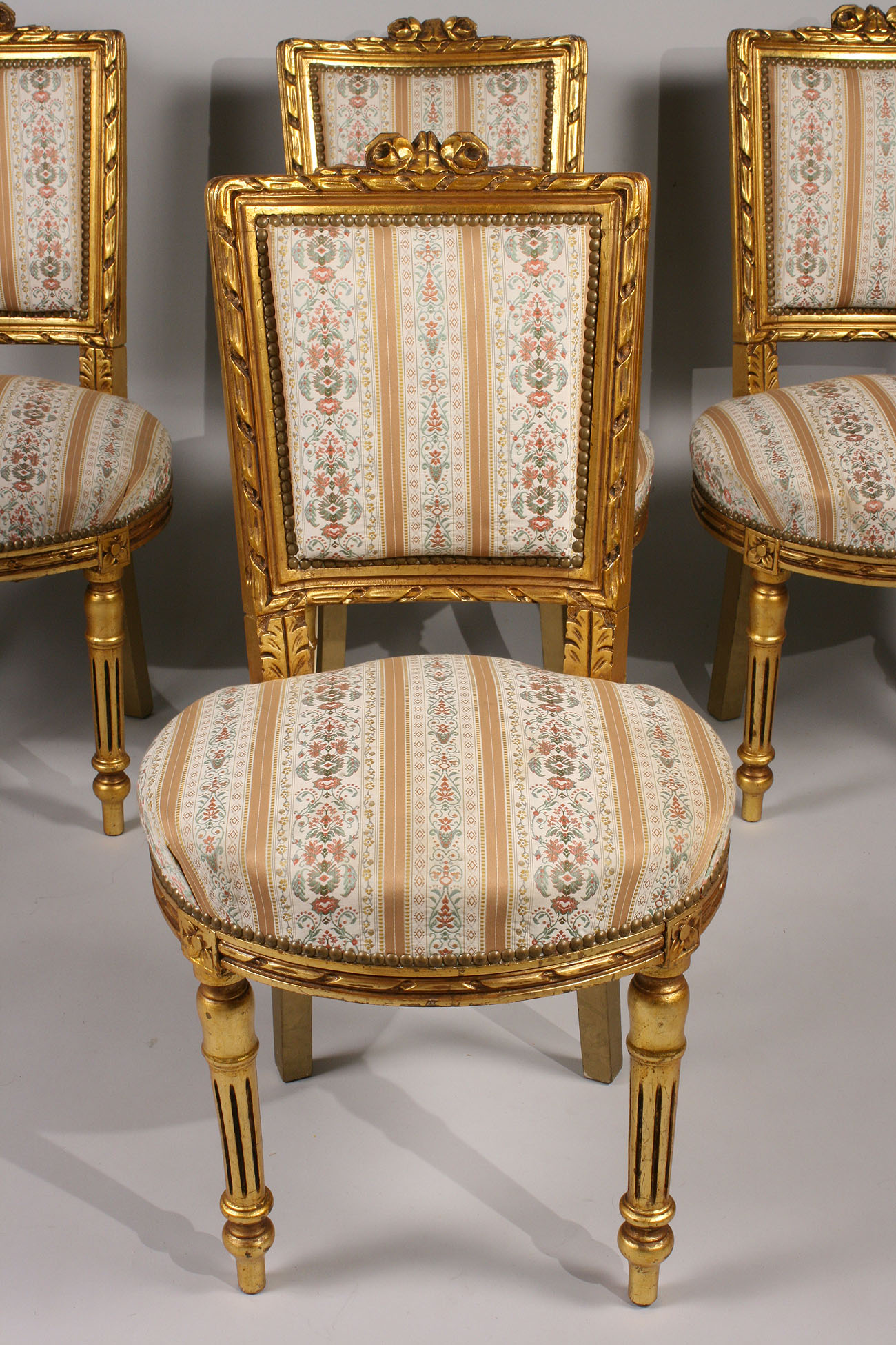 Lot 445 Louis XVI style Giltwood Chairs 4 & Table