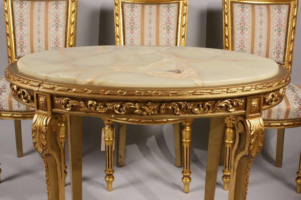 Lot 445: Louis XVI style Giltwood Chairs (4) & Table