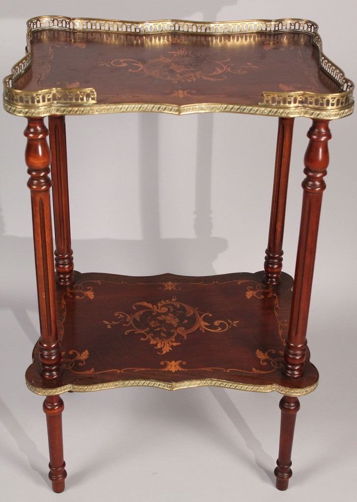 Lot 446: French Marquetry Tiered Side Table