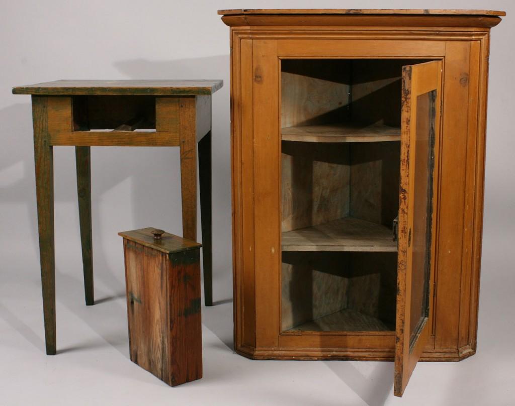 Lot 448: Hanging Corner Cupboard & Table