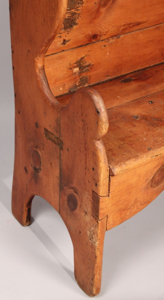 Lot 450: Pine bench with heart cutout