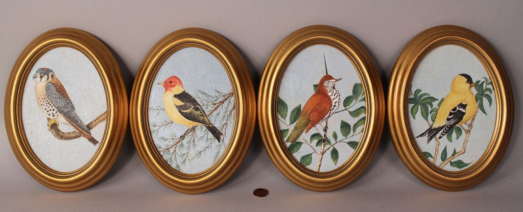 Lot 456: Lot of 4 Bird Oil on Board Paintings, Oval Frames