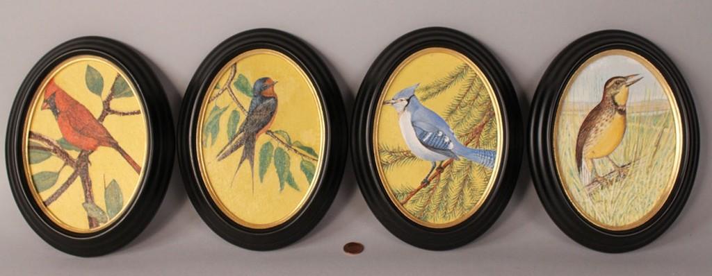 Lot 457: Lot of 4 Bird Oil on Board Paintings, Oval Frames