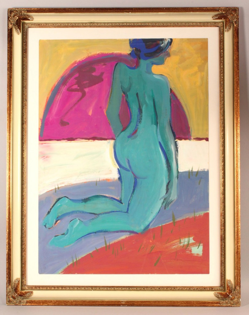Lot 459: Robert Domin Large Nude Oil on Paper