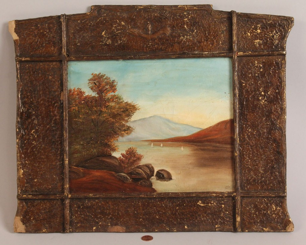 Lot 462: Folk art riverscape with tabernacle style frame