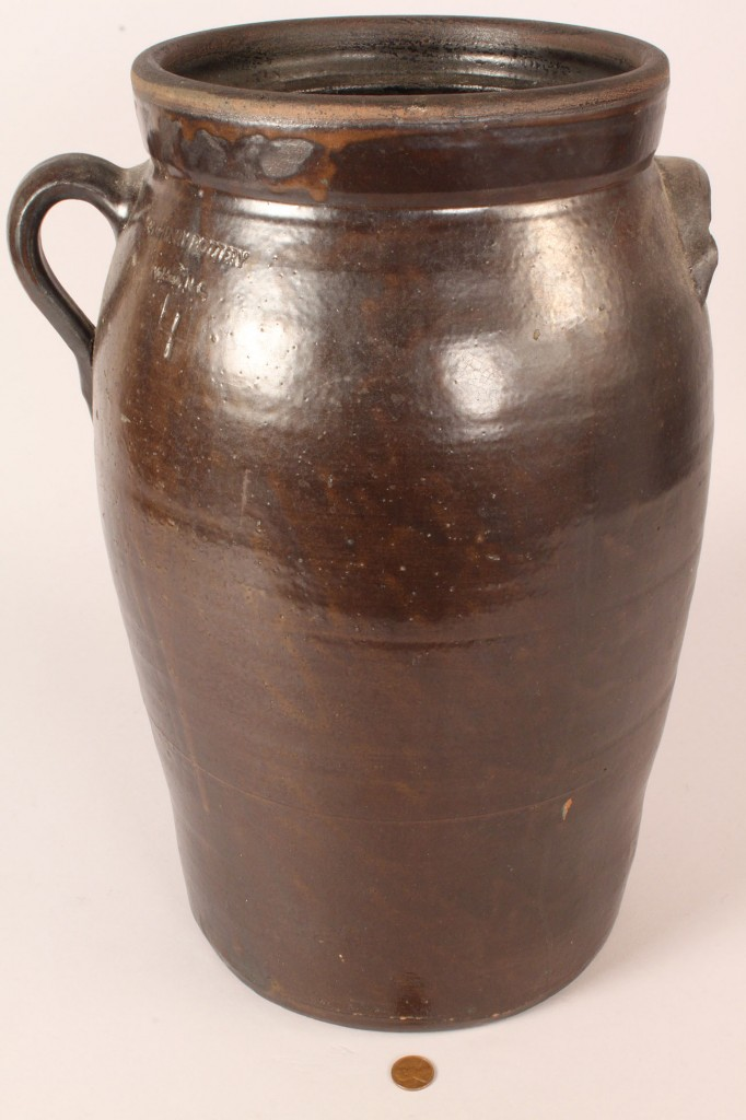 Lot 46: Large North Carolina O. Henry Pottery Churn