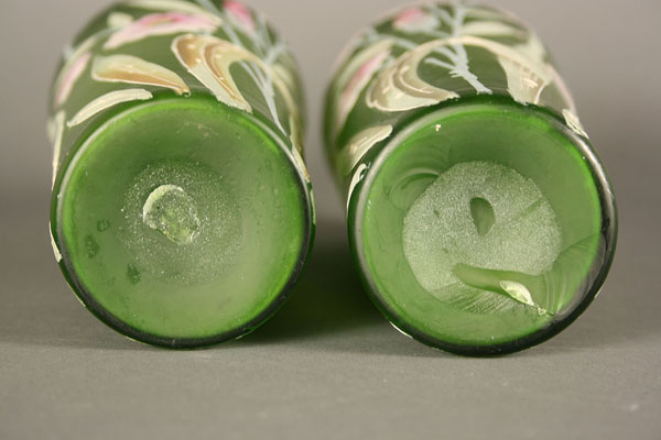 Lot 475: Pair of Victorian Green Satin Glass Vases