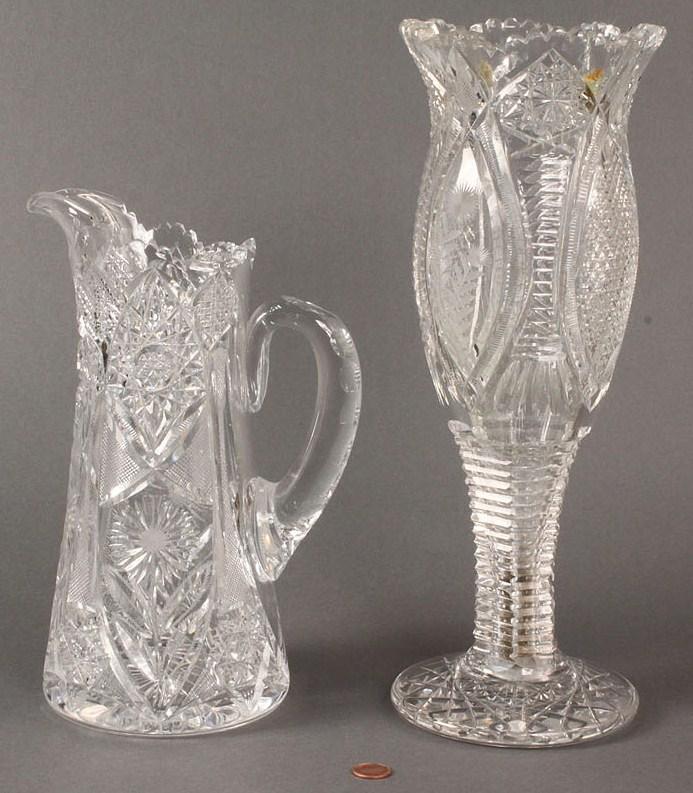 Lot 476: Lot of 2 Cut Glass Items, Vase & Pitcher