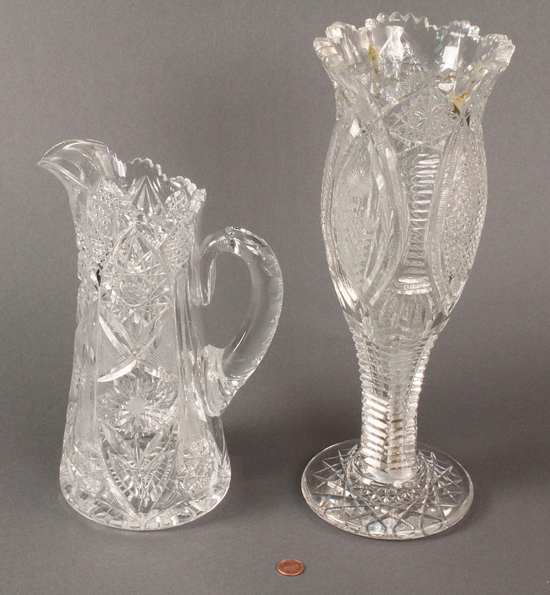 Lot 476 Lot Of 2 Cut Glass Items Vase Amp Pitcher