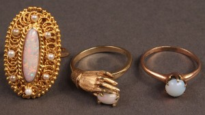 Lot 477: Lot of 3 14K Gold Opal Ladies Rings