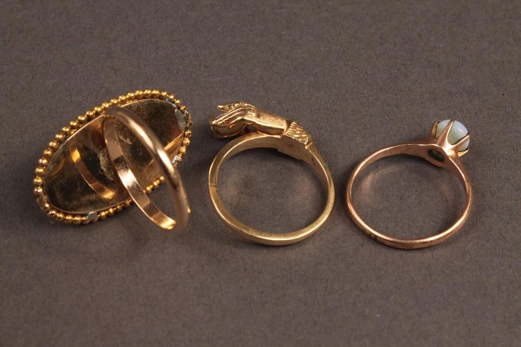 Lot 477: Lot of 3 14K Gold Opal Ladies Rings