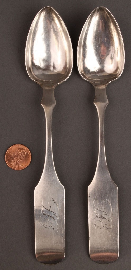 Lot 48: Pair Samuel Bell TN Coin Silver Tablespoons