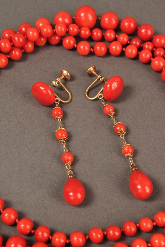 """Lot 490: Red coral necklace, 54"""", and earrings"""