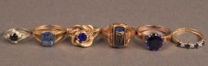 Lot 491: Lot of 6 Ladies Gold Rings, 10-18K