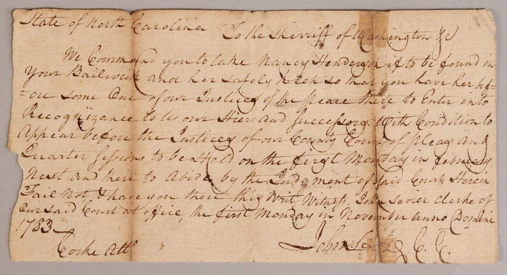 Lot 4: Tennessee Governor John Sevier signed letter