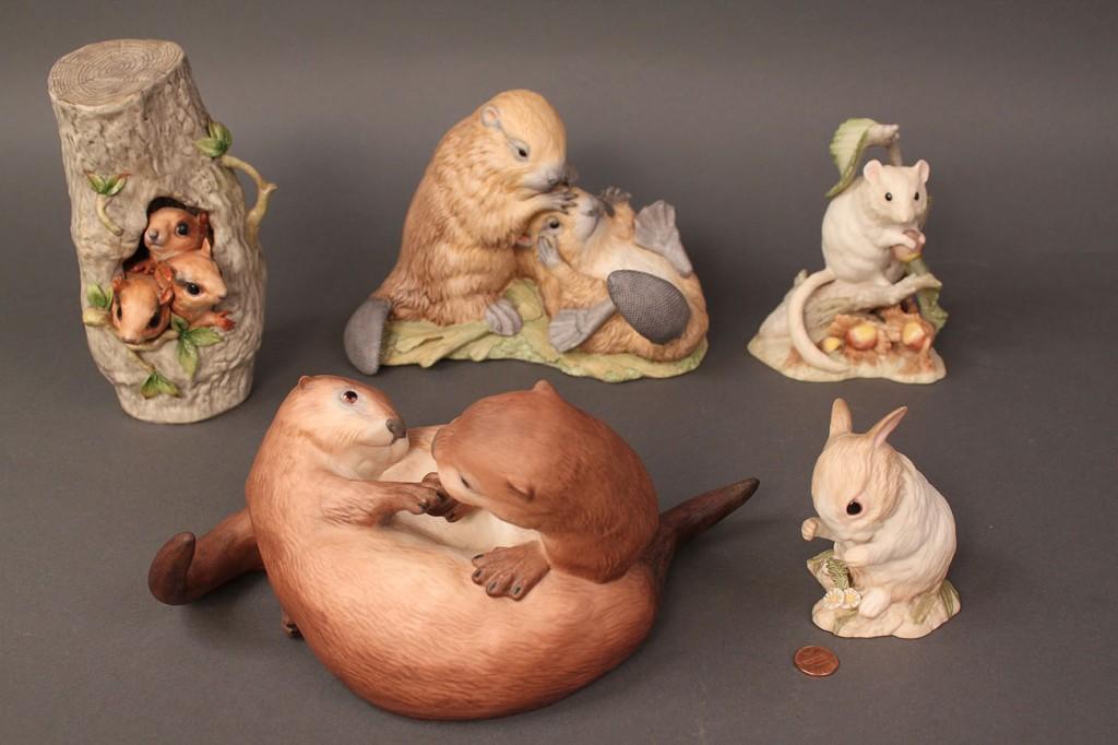 Lot 509: Lot of 5 Cybis Animal figures, woodland-themed