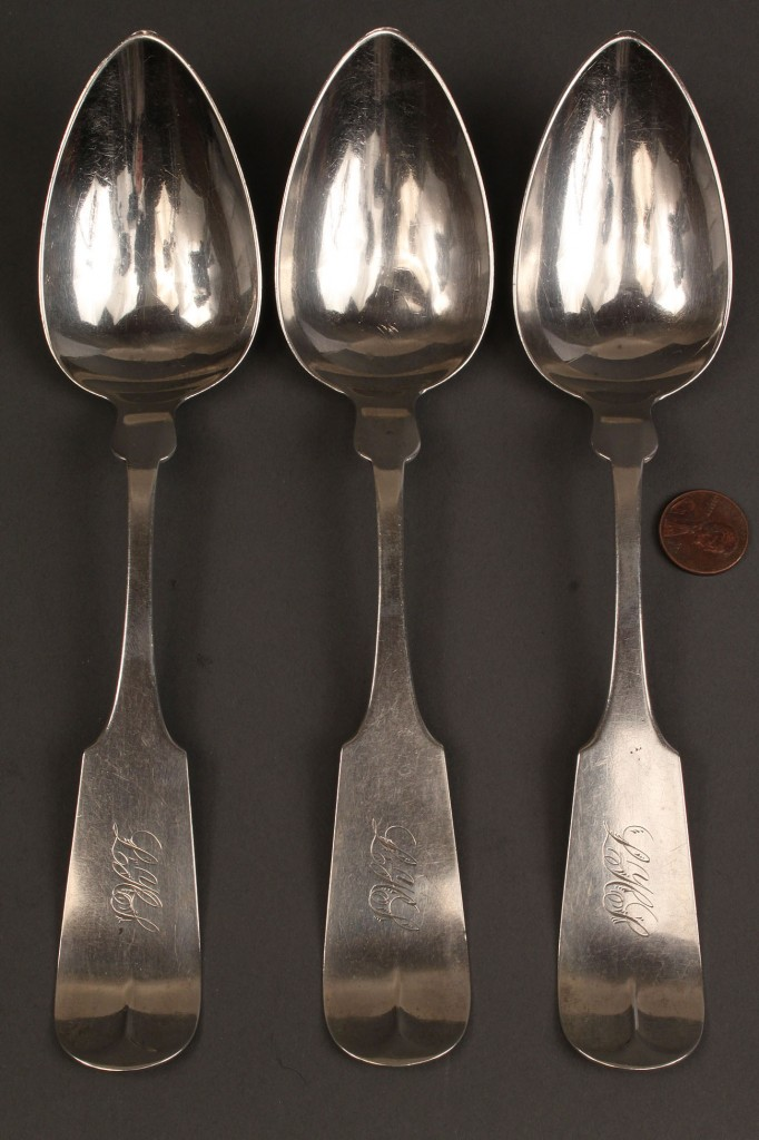 Lot 50: Hope & Miller silver tablespoons, 3 pcs.
