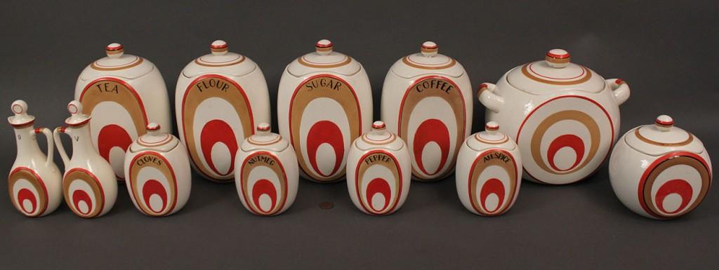Lot 519: Japanese Art Deco Cannister Set, 18 pieces