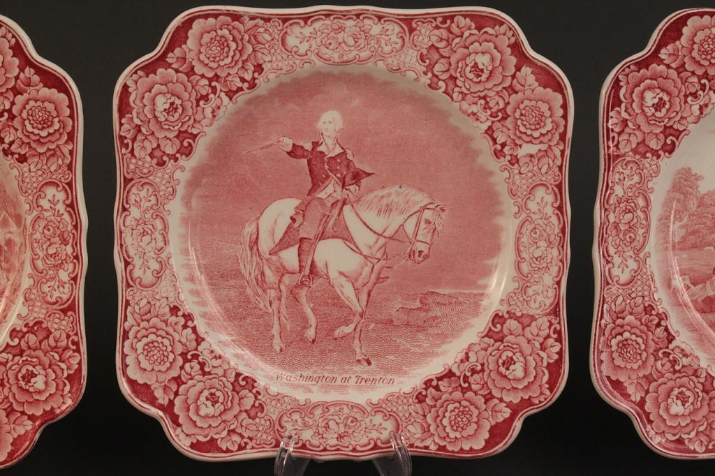 Lot 528: Set of 6 Square Washington Staffordshire Plates