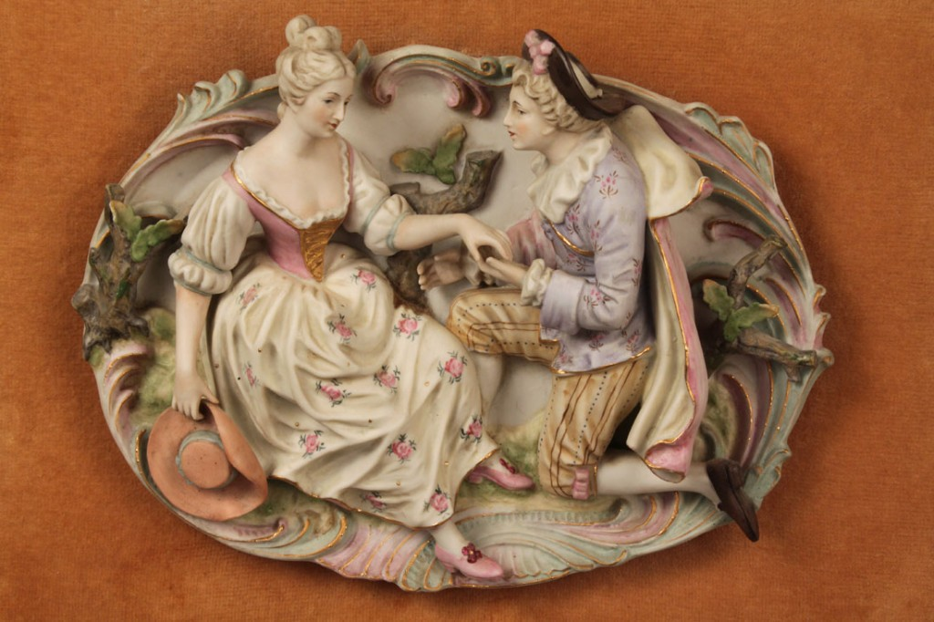 Lot 529: Lot of 2 Bisque figural wall plaques, prob. German