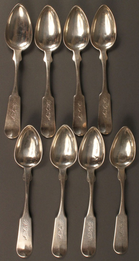 Lot 52: 8 TN Coin Silver Spoons, J. Campbell
