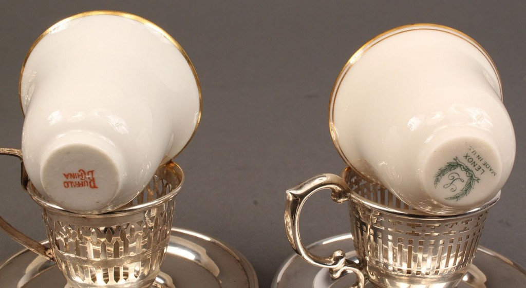 Lot 532: 2 Sets of Sterling Demitasse with Saucers along with set of 5 wghtd sterling nut dishes
