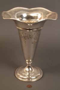Lot 535: Sterling vase with floral incised decoration