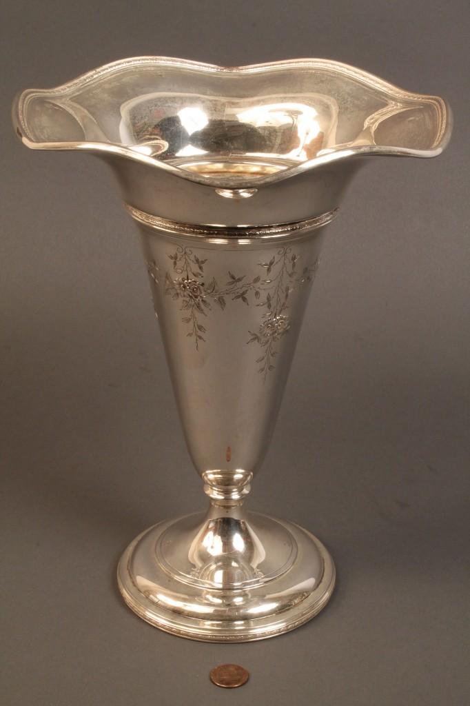 Lot 535: Sterling vase with floral incised decoration