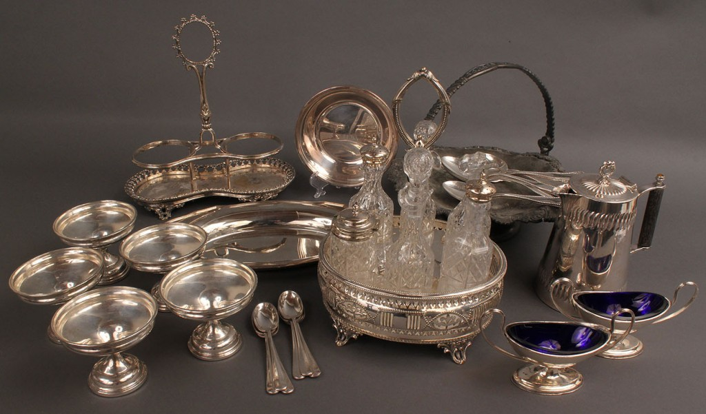 Lot 544: Assorted Lot of Sterling and Plated Tableware