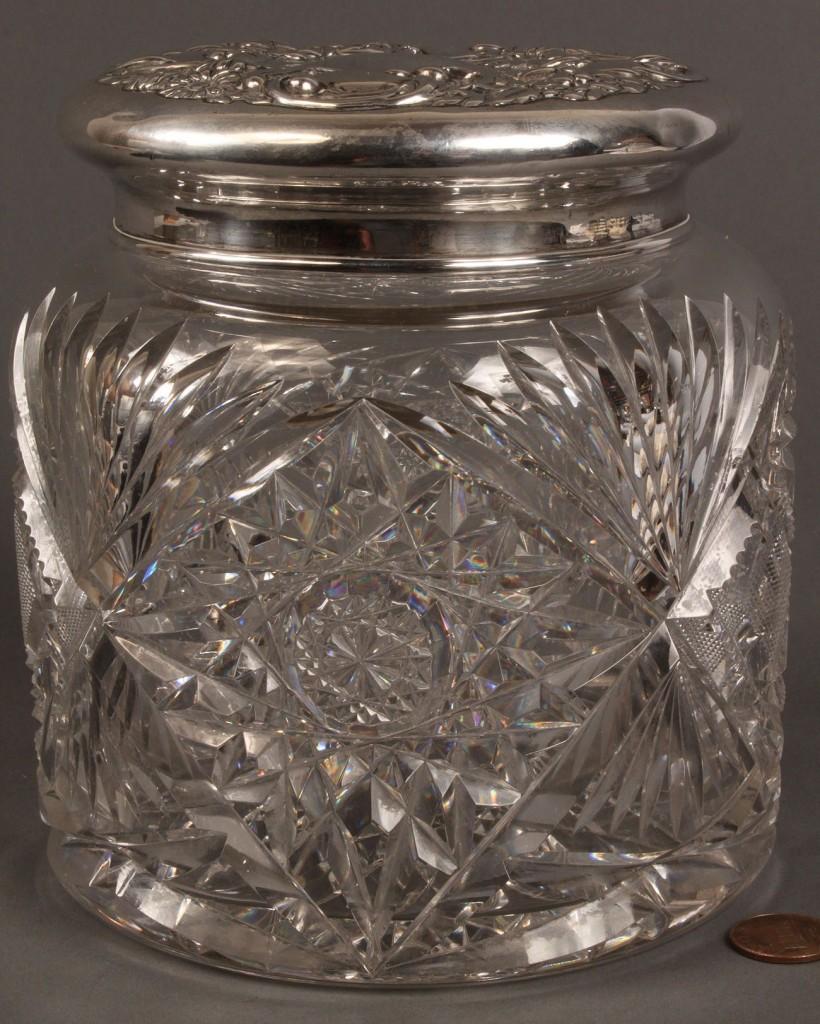 Lot 547: Sterling mounted cut glass dresser jar