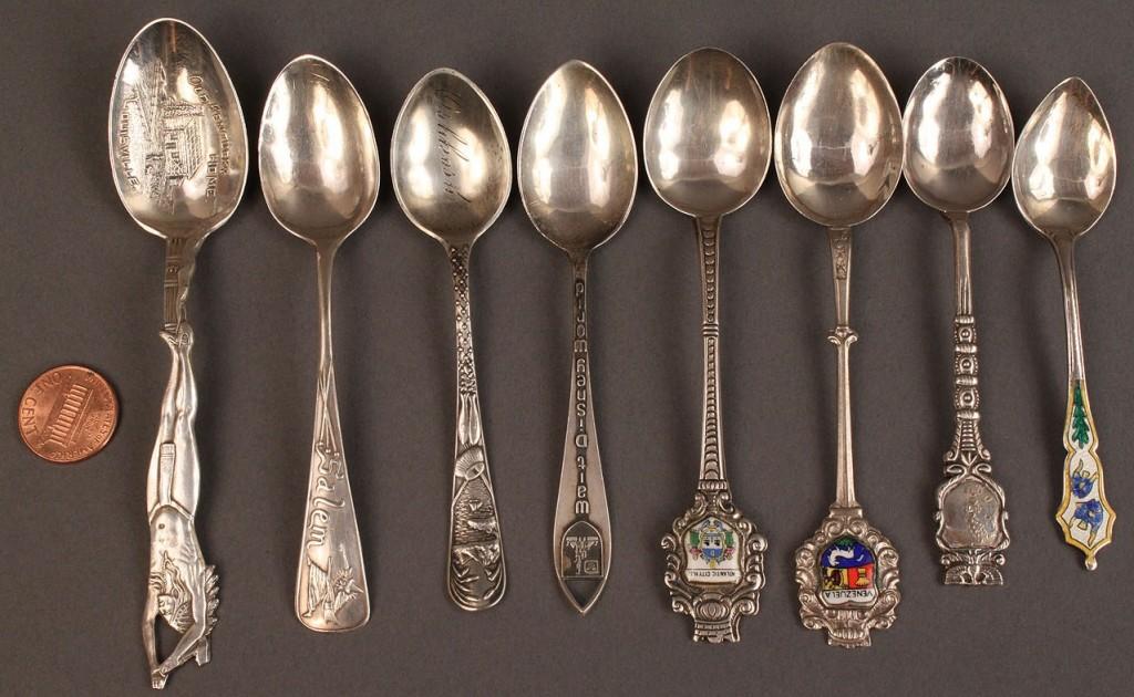 Lot 549: Lot of 48 Sterling Souvenir spoons
