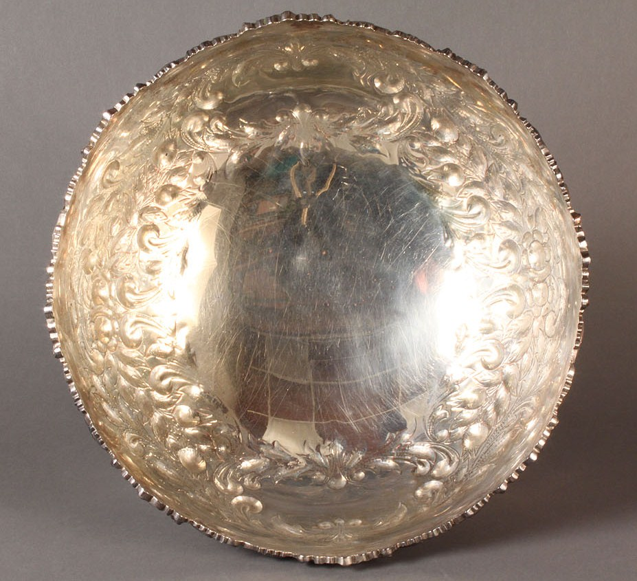 Lot 555: Large Silver on Copper Punch Bowl