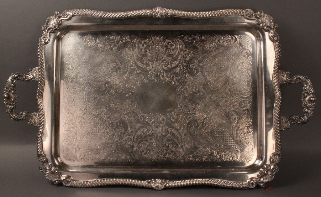Lot 556: Large footed silverplated Tea Tray, rectangle