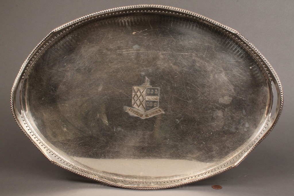 Lot 559: Silverplated footed gallery tray, oval
