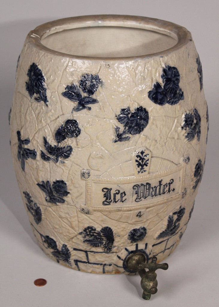 Lot 564: 4-gal Stoneware Water Cooler, attr. White's Utica