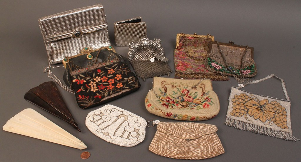 Lot 574: 10 Ladies Purses & 2 Ladies Fans, 12 pcs total