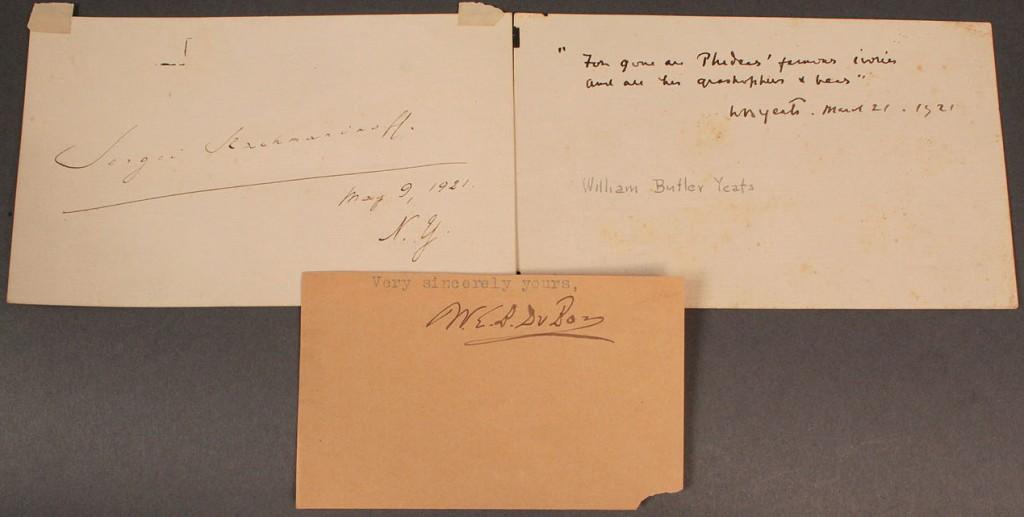 Lot 583: 3 autographs, Yeats, DuBois & Rachmanonoff