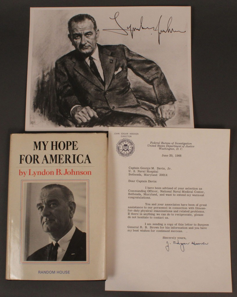 Lot 584:  L.B. Johnson & J.E. Hoover signed items, 3 pcs