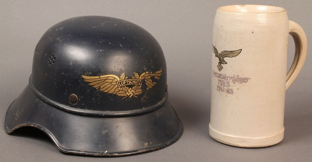 Lot 589: German Nazi-related helmet and stein