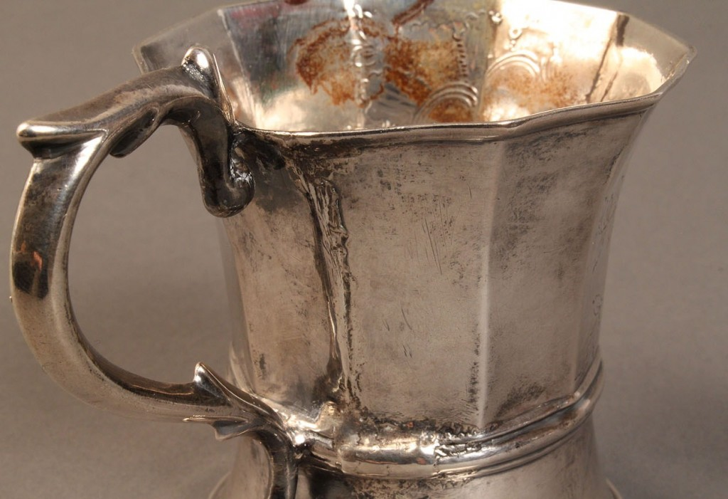 Lot 58: Lot of 2 coin silver mugs, 19th c.