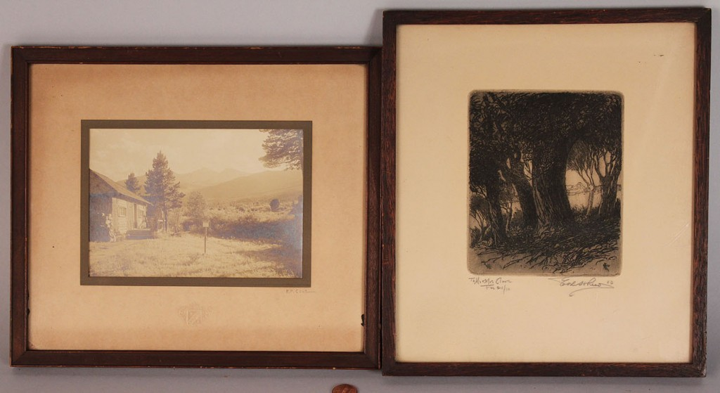 Lot 596: Gelatin print & etching, E P Cole & Ernest Reed