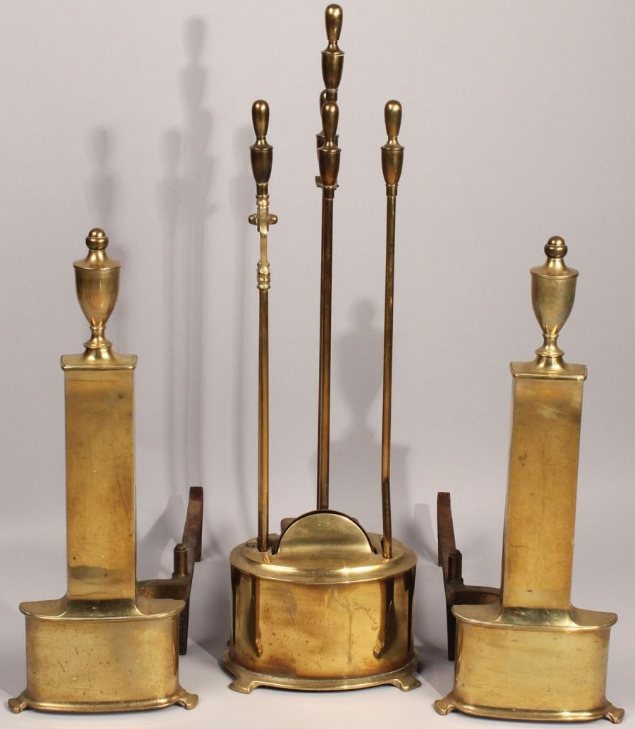 Lot 597: Art Moderne/Art Deco Andirons & Tools