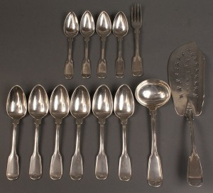 Lot 59: Ass'd lot Gale, Wood & Hughes coin flatware, 13 pcs