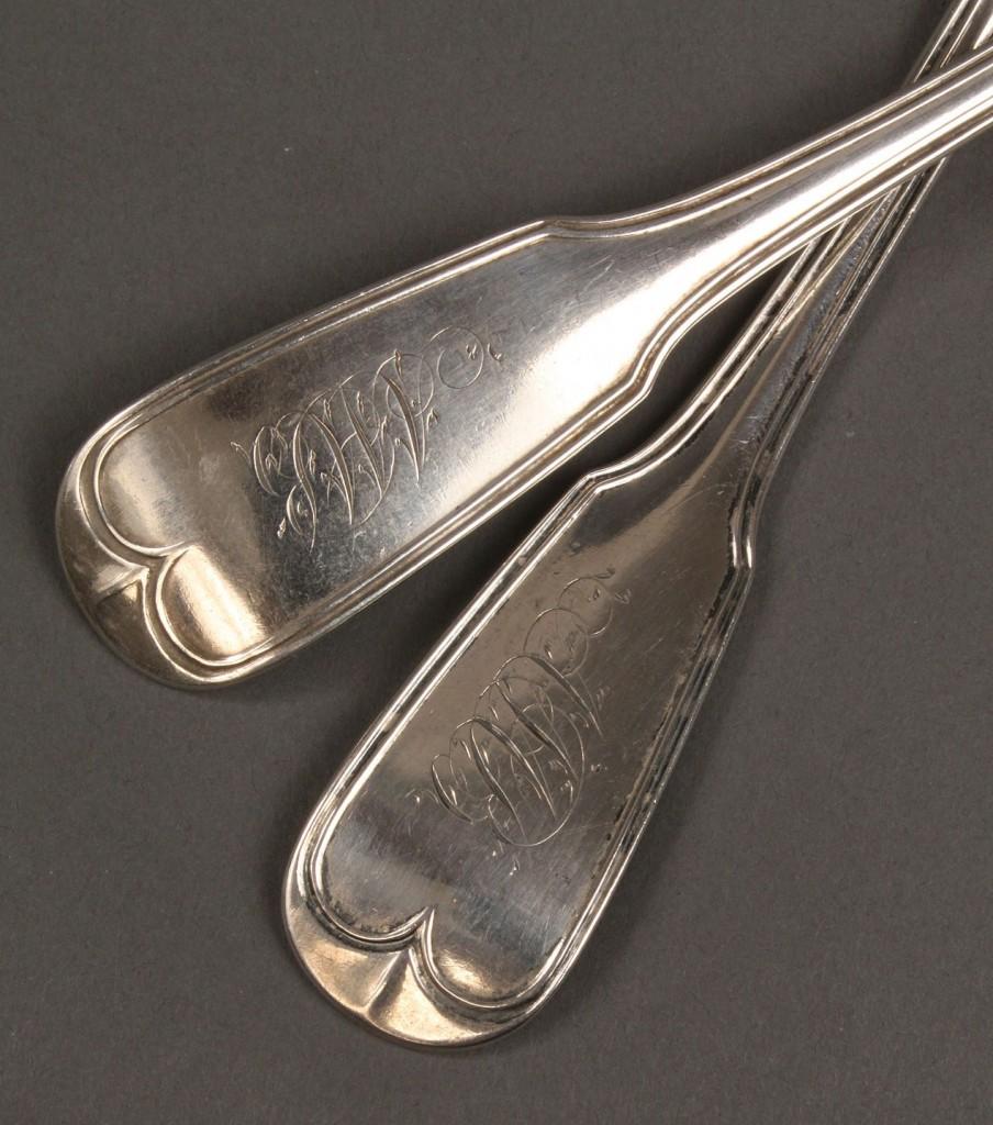 Lot 59: Ass'd lot Gale, Wood & Hughes coin flatware, 13 pcs
