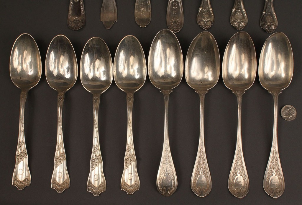Lot 60: Lot of 15 coin & early sterling silver tablespoons