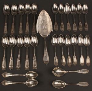 Lot 62: Ass'd lot of coin & sterling spoons + 1 pie server, 27 pcs.