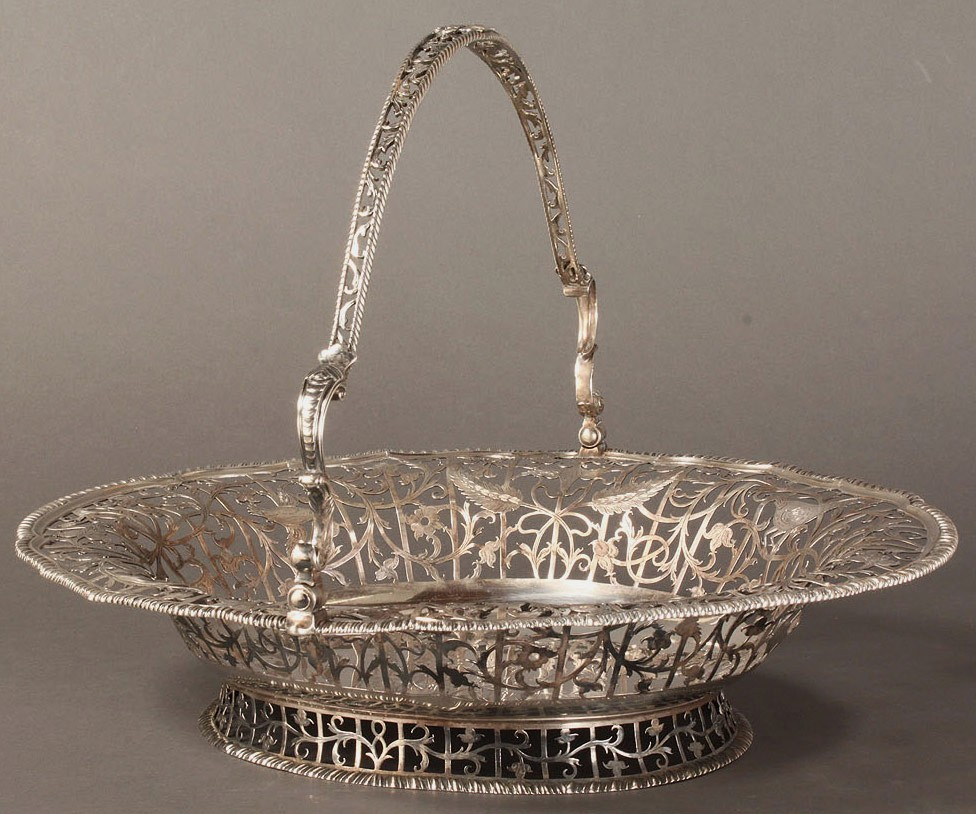 Lot 65: Georgian silver cake basket, Edward Aldridge